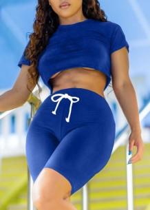Summer Sexy Solid Crop Top e Shorts 2 pezzi coordinati
