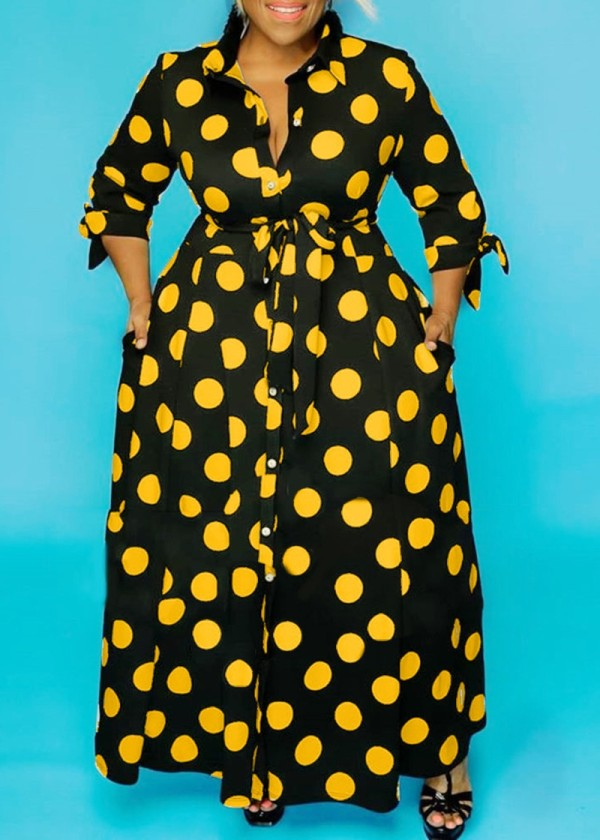 African Fashion Polka Dot Long Maxi Dress