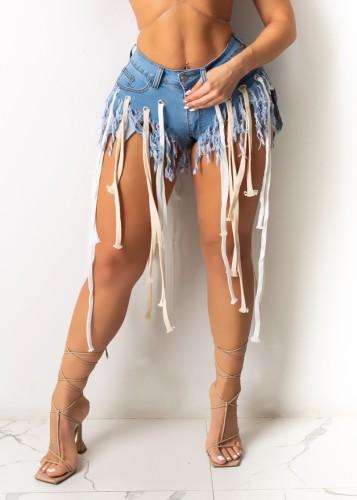 Summer Blue Denim Strings Tassel Shorts
