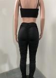 Top corto estivo sexy con lacci e pantaloni increspati a vita alta 2 pezzi coordinati