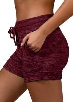 Shorts para corrida de verão com cordão na cintura e bolsos