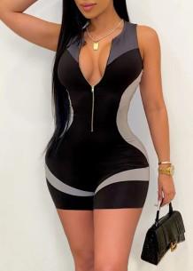 Summer Contrast Sleeveless Zip Up Bodycon Rompers Jumpsuit
