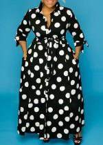 Afrikaanse mode polka dot lange maxi jurk