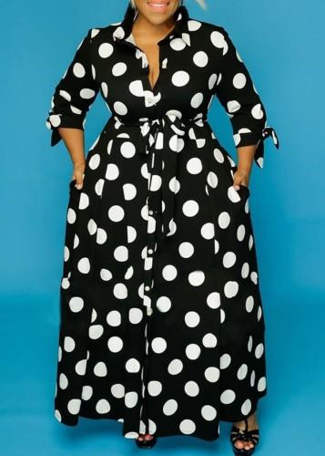Maxi abito lungo a pois moda africana