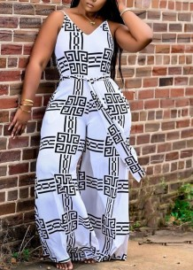 Summer White and Black Print Strap Loose Jumpsuit with Belt
