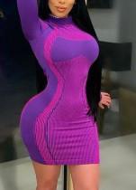 Parti Uzun Kollu Çizgili Kontrast Mini Bodycon Elbise