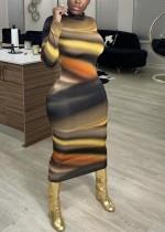 Afrikaanse mode kleurrijke midi bodycon jurk met lange mouwen