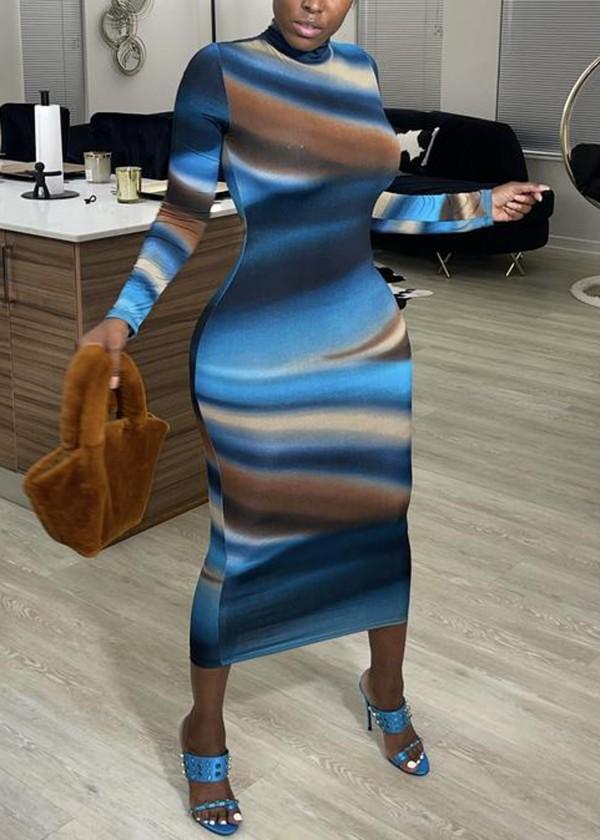 Afrika Modası Renkli Uzun Kollu Midi Bodycon Elbise