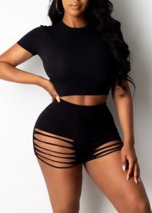 Summer Black Tight Sexy Crop Top y pantalones cortos rasgados a juego con 2 piezas