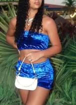 Summer Velvet Blue Bandeau Crop Top und Shorts passend zum 2PC Set