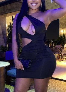 Party Solid Cut Out One Shoulder Sexy Mini Bodycon Dress