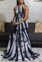 Summer African Tie Dye Halter Long Maxi Evening Dress
