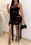 Vestito aderente con stringhe trasparenti sexy da festa estiva