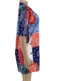 Camicetta casual a maniche corte con stampa retrò africana estiva