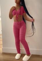Sommer Solid Sexy Rüschen Crop Top und Hosen passend 2pc Set
