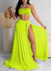 Summer Beach Solid High Waist Bandeau Swimwear with Matching Cover-Up