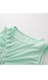 Sommergrün ärmelloses sexy gerüschtes Minikleid