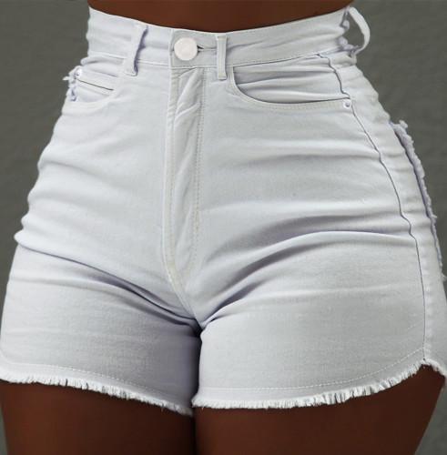 Summer White High Waist Tassels Denim Shorts