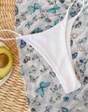 3PC Beyaz Kelebek Mayo Örtüsü Seti