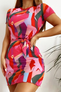 Summer Solid Swimwear with Colorful Cover-Up 3PC Set