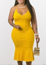 Plus grootte zomer gele halter midi-jurk breien