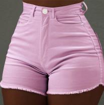 Shorts jeans rosa verão borlas cintura alta