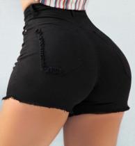 Shorts jeans pretos de cintura alta com borlas de verão