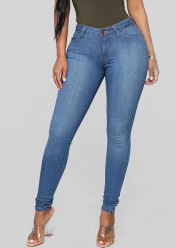 Jeans ajustados de cintura alta de mezclilla azul claro de verano