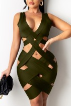 Summer Army Green Aushöhlen Ärmellose Party Sexy Bodycon Kleid