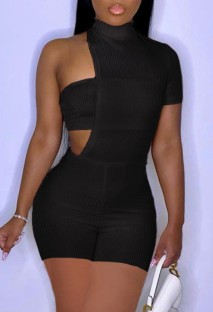 Summer Party Black Irregular Sexy Bodycon Rompers