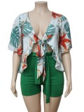 Plus Size Summer Print Green Short Sleeve Blouse and Shorts Matching Set