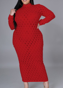 Plus Size Red Hollow Out Sexy Langarm Midi Kleid