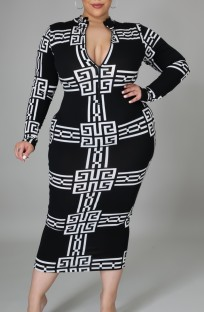 Plus Size White and Black Print Long Sleeve Midi Dress