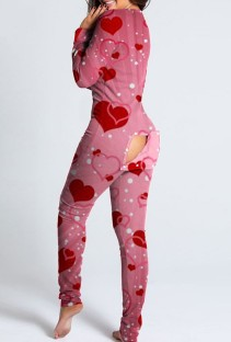 Heart Print Pink Long Sleeve Sexy Lounge Jumpsuit with Patch Butts