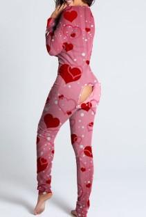 Mono de salón sexy de manga larga rosa con estampado de corazón y colillas de parche