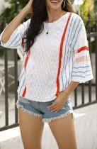 Белый свободный вязаный топ Summer Stripes
