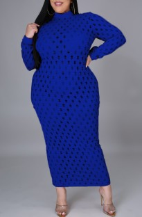 Plus Size Blue Hollow Out Sexy Long Sleeve Midi Dress