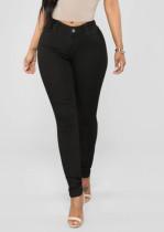 Summer Black Denim Jeans mit hoher Taille