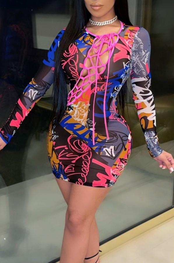 Frühlings-Schnür-Druck Buntes sexy langärmliges Mini-Bodycon-Kleid