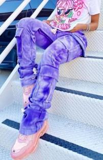 Summer Tie Dye pantalones deportivos morados con bolsillo