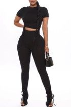 Summer Solid Color Strings Ribbed Crop Top and Stacked Pants Two Piece Matching Set