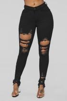 Jeans de corte rasgado de cintura alta de mezclilla negra de verano