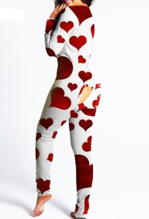 Heart Print White Long Sleeve Sexy Lounge Jumpsuit with Patch Butts