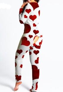 Mono de salón sexy blanco de manga larga con estampado de corazón y colillas de parche