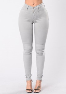 Summer Grey Denim Jeans mit hoher Taille
