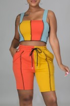 Summer Casual Contrast Color Wide Strap Crop Top and Shorts Two Piece Matching Set