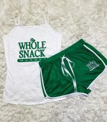 Conjunto de dos piezas de chaleco y pantalones cortos con estampado deportivo de verano