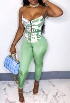 Top a bustier sexy con stampa estiva e pantaloni attillati