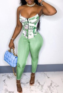 Summer Print Sexy Bustier Top and Tight Pants Set