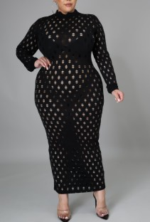 Plus Size Black Hollow Out Sexy Long Sleeve Midi Dress
